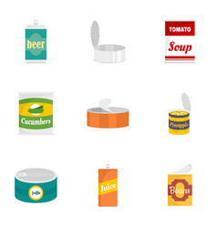 Can nutrition icon set flat style vector
