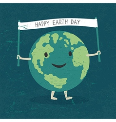 Cartoon Earth Planet smile and hold banner with H vector image vector image