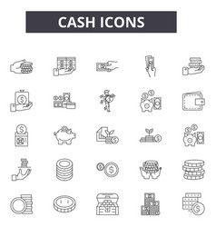 cash line icons for web and mobile design vector image