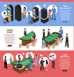 Casino isometric horizontal banners vector