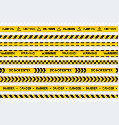 caution tape set yellow warning lines danger vector image