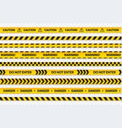 caution tape set yellow warning lines danger vector image