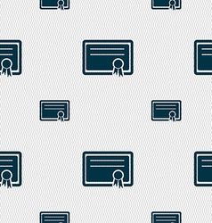 Certificate icon sign Seamless pattern with vector image