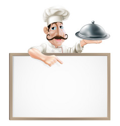 Chef with platter pointing at sign vector