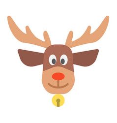 christmas deer flat icon new year and christmas vector image