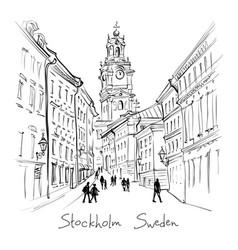 Church storkyrkan in stockholm sweden vector