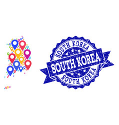 Collage map of south korea with map markers and vector