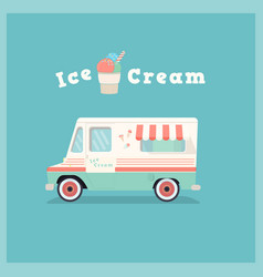 colorful retro ice cream van vector image