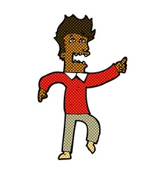 Comic cartoon frightened man pointing vector