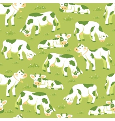 cows on field seamless pattern background vector image