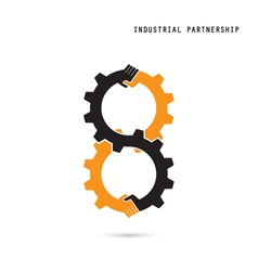 Creative handshake sign and industrial idea vector image