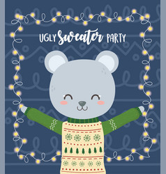 cute bear christmas ugly sweater party vector image