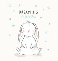 cute bunny in hand drawn style with stars vector image