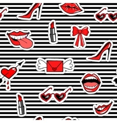 Cute fashion seamless pattern with patch badges vector