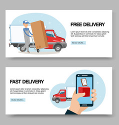Delivery service free and fast background set of vector