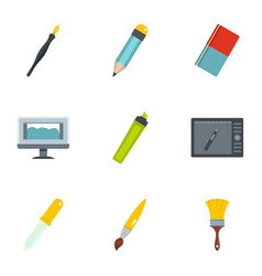 designer workspace icons set flat style vector image