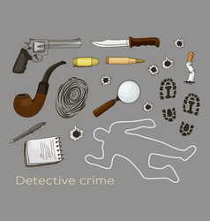 detective crime icons set vector image
