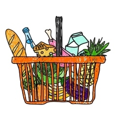 Doodle sketch drawing with a basket of groceries vector image