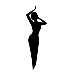 elegant black silhouette of a woman or a girl with vector image