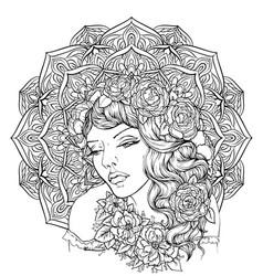 face of pretty elegant boho girl vector image