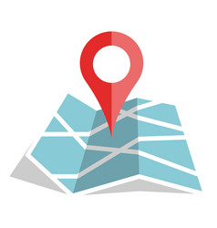 flat color location icon on paper map vector image
