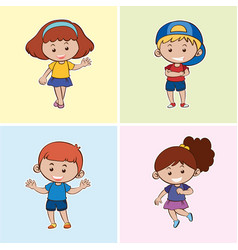 Four children with happy smile vector