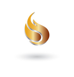 glossy flame 3d logo vector image