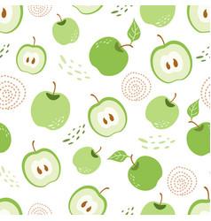 green apple seamless pattern green piece apple vector image