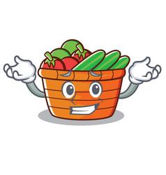 Grinning fruit basket character cartoon vector