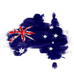 grunge map australia with australian flag vector image