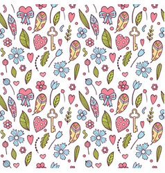 hand drawn doodle love seamless pattern for vector image