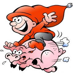 Hand-drawn of elf riding on a pig vector image