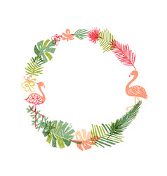 Hand drawn tropical flower and flamingo wreath vector