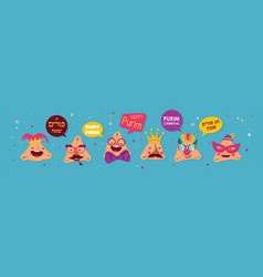 happy purim banner with funny hamantashen vector image