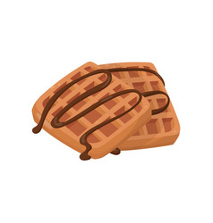 homemade waffles topped with chocolate sauce vector image