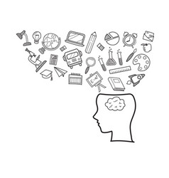human head with education doodles icons vector image