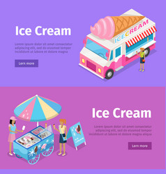 Ice cream mobile umbrella cart and minivan poster vector