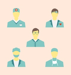 icons set of medical employees in modern flat vector image