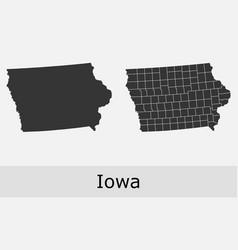Iowa map counties outline vector