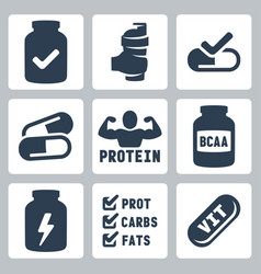 Isolated sport supplements icons set vector