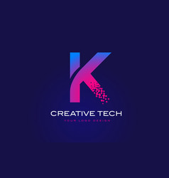 K initial letter logo design with digital pixels vector