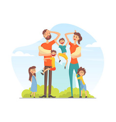 Large family with many children tired parents vector