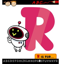 Letter r with robot cartoon vector