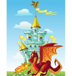 Magical fairytale red dragon near the blue magic vector