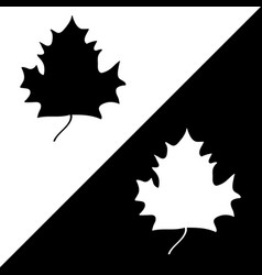 maple leaf black white silhouette sign set 508 vector image