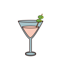martini cocktail glass icon image vector image