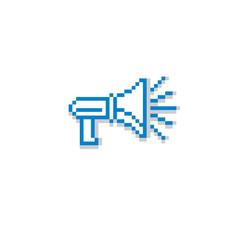 Megaphone pixel icon isolated 8bit graphic vector