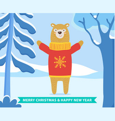 merry christmas and happy new year bear character vector image