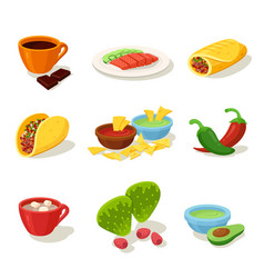 mexican food cartoon flat set vector image