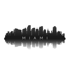 miami skyline in black with reflection vector image